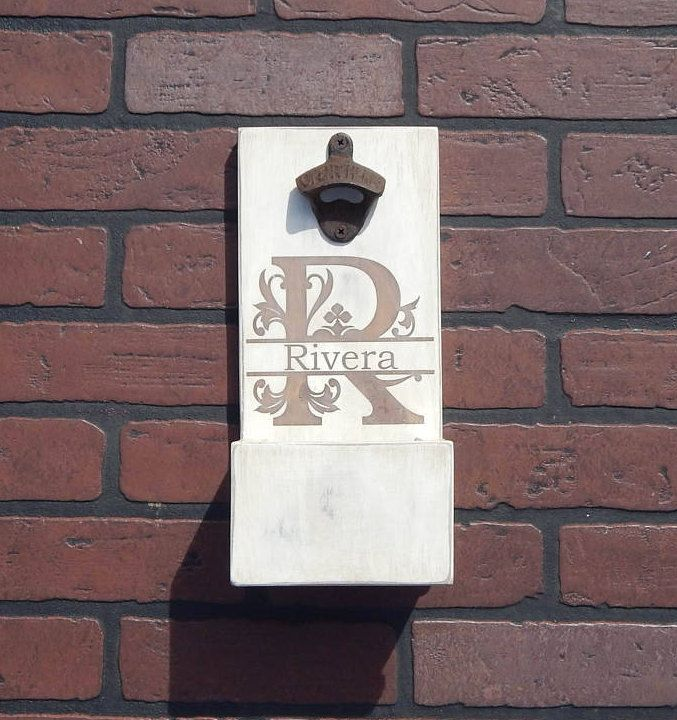 Personalized Distressed Wall Mounted Bottle Opener with cap catcher and easy removal system- Custom colors/styles available by RFamilyWorkshop on Etsy