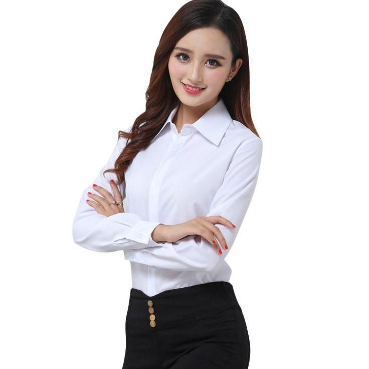 Women Korean Fashion Off White Shirt Work Wear Long Sleeve Tops Slim Women's Casual Chiffon Blouses Shirts Blusas 3 Style