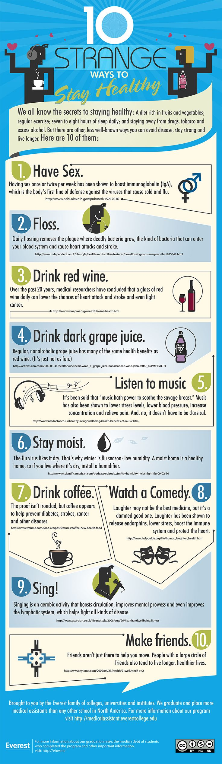 10 Strange Ways To Stay Healthy  I don't have friends to hang out with. Unfortunately, no man to have sex with; the other eight I can do.
