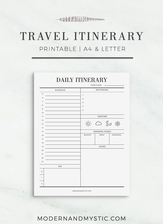 Travel Itinerary Printable Printable Travel Schedule Vacation