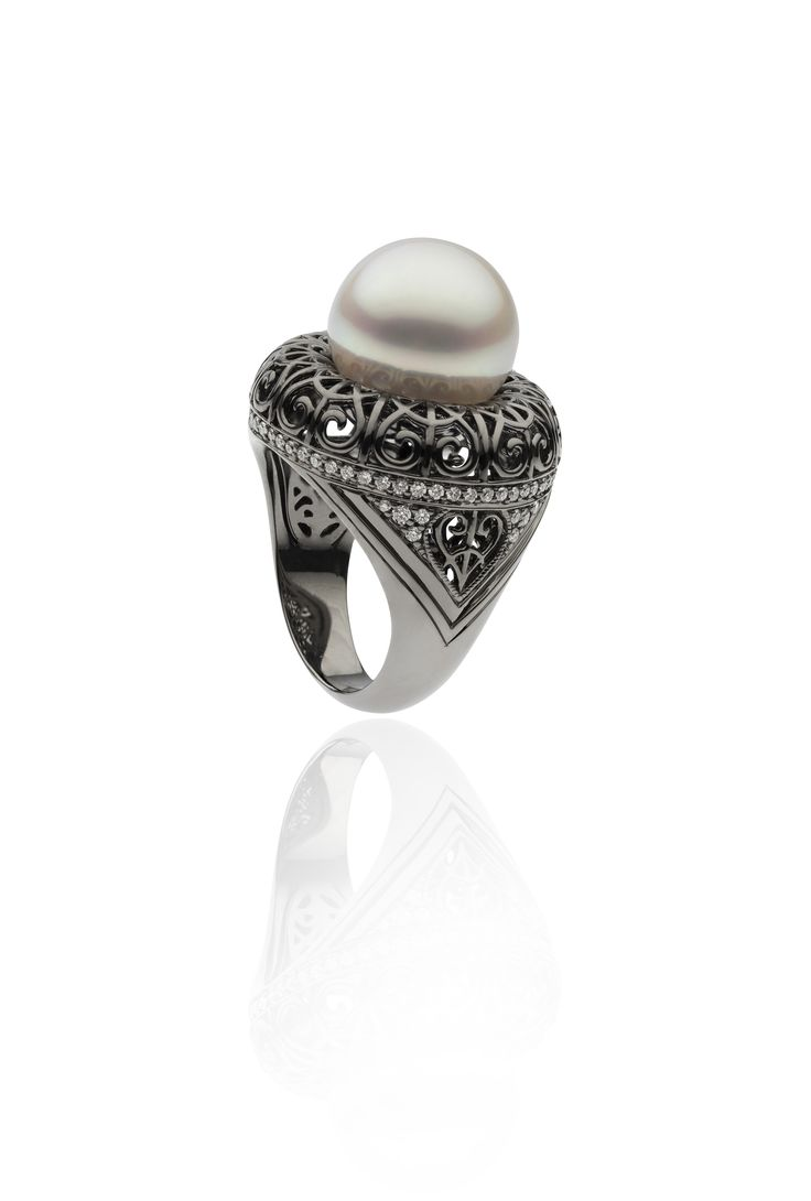 Autore Iron Lattice Ring  18k Black Gold with Diamonds and South Sea pearls. Inspired by the Eiffel Tower in Paris