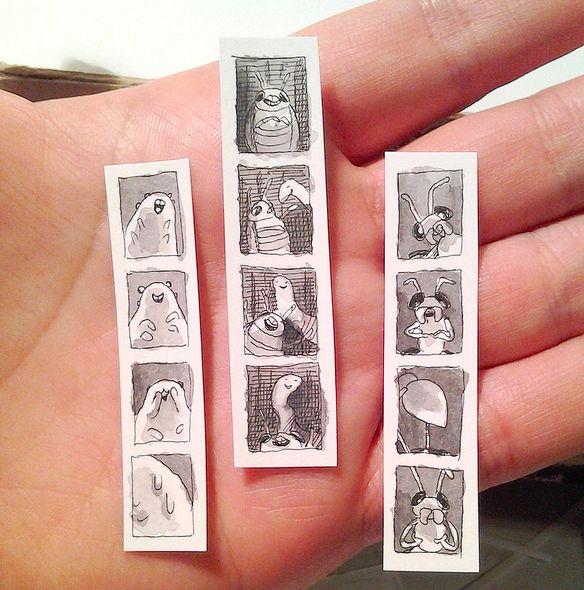 Teeny tiny insect photobooth strips.