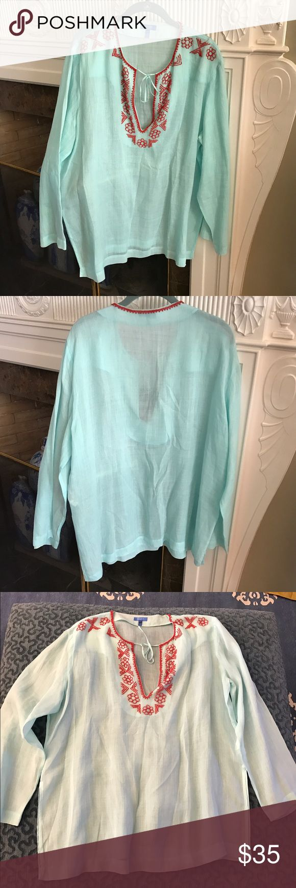 Escada Sport Beaded Cover Up Escada Sport V Neck Blouse. Long sleeve light blue tunic with red beading details and slits on both sides. 100% Ramie. Escada Tops
