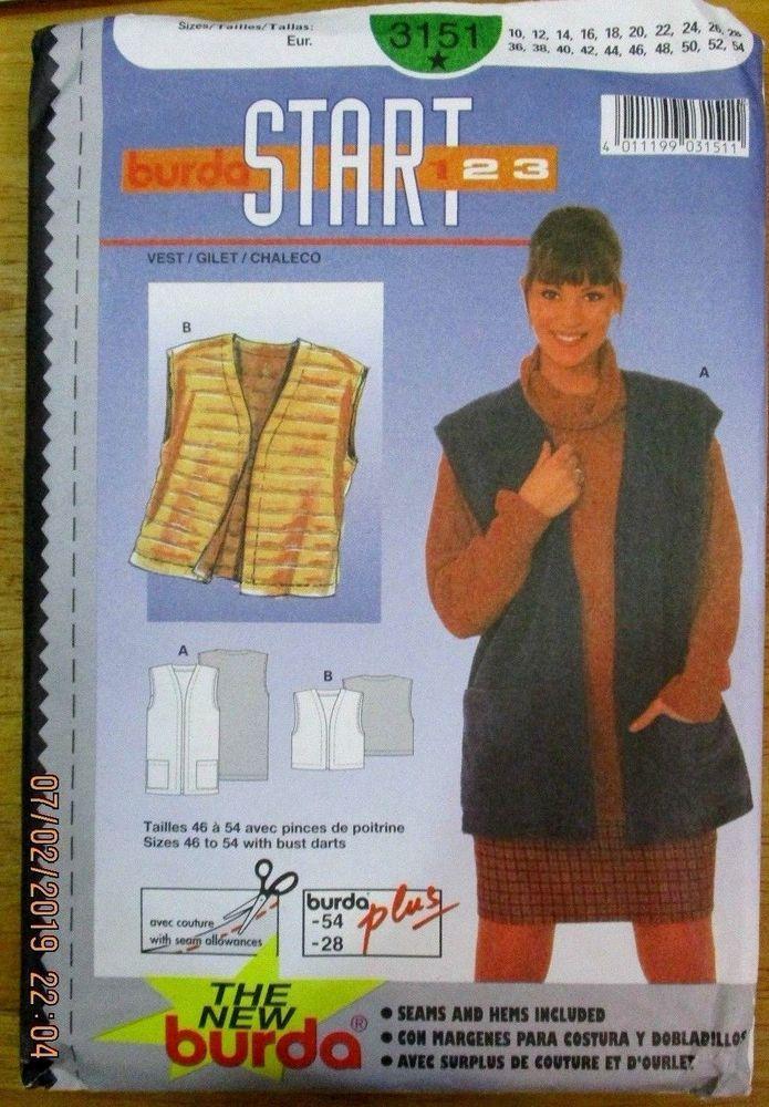 BURDA Sewing Pattern no. 3151 LADIES VESTS  size 10-28 UNUSED #Burda #Patterns