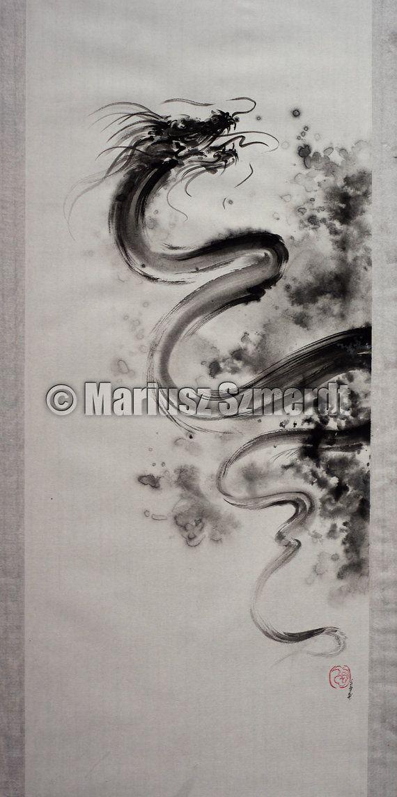 Peinture abstraite de Dragon peinture moderne par SamuraiArt