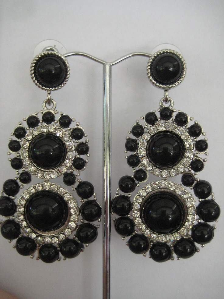 Earrings! Silver and black chandelier earrings. Stunning accessory for that special occassion or that favourite LBD