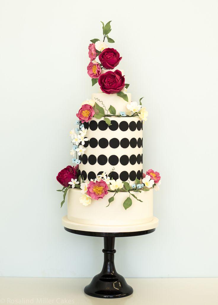 Wildflowers Monochrome Wedding Cake Rosalind Miller Cakes London, UK