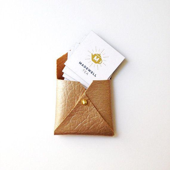Vegan leather square envelope wallet, square business card case, gold card…