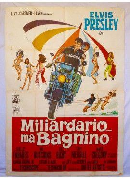Miliardario ma bagnino - Clambake. Elvis Presley. Original italian vintage movie poster - ON SALE ! www.kustomlifestyle.it  #movieposter #affiche #manifesto #locandina #graphicart #interiordesign #italianposter #italianart #elvis #elvispresley