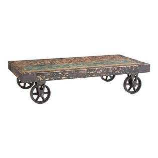 Rustic Cart Coffee Table - This cart table is truly a unique piece. The wood slats that create the top are heavily weathered, giving it a very rustic detail. They are sealed and lacquered so the cart can be used as a coffee table or for any everyday purpose.
