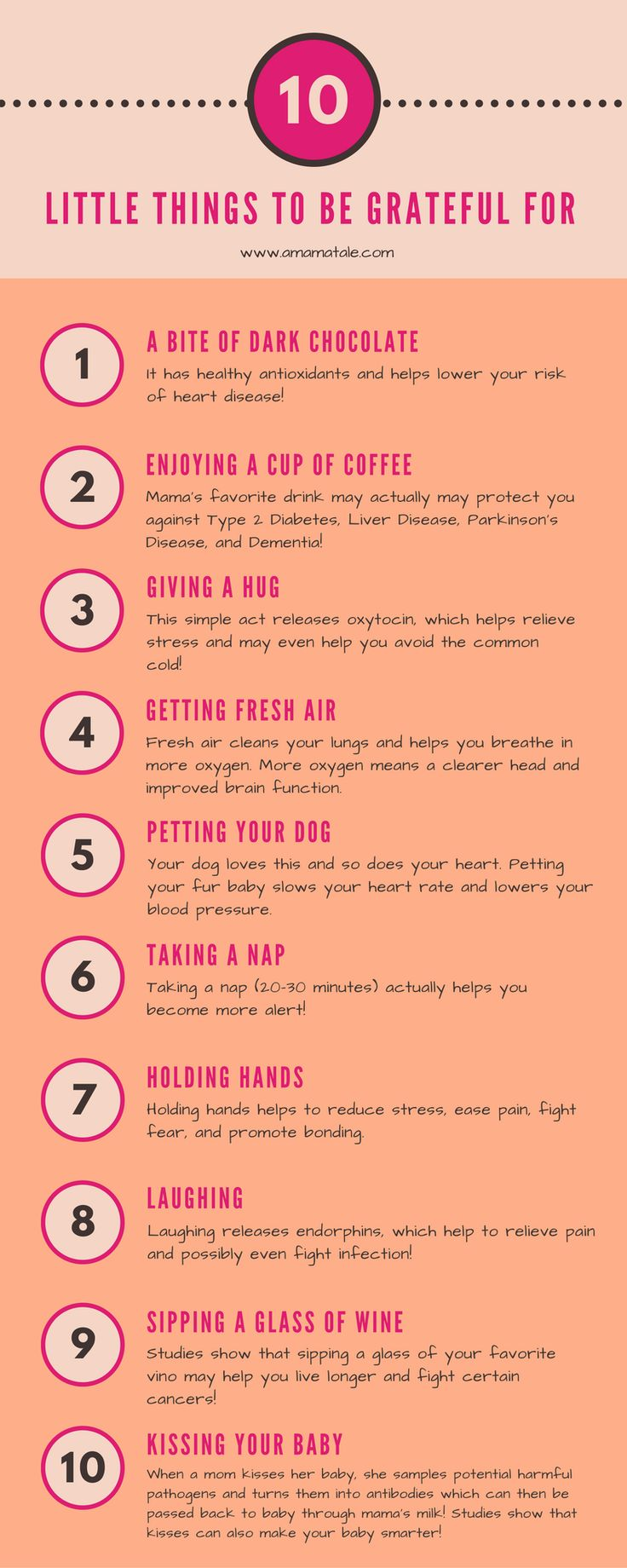 10 Little Things to Be Grateful For Good for your soul and good for your health!  www.amamatale.com