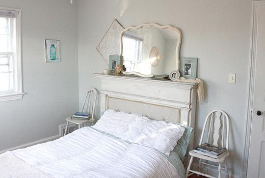 One person's trash... another's treasure. Fireplace mantle transformed into a funky headboard.