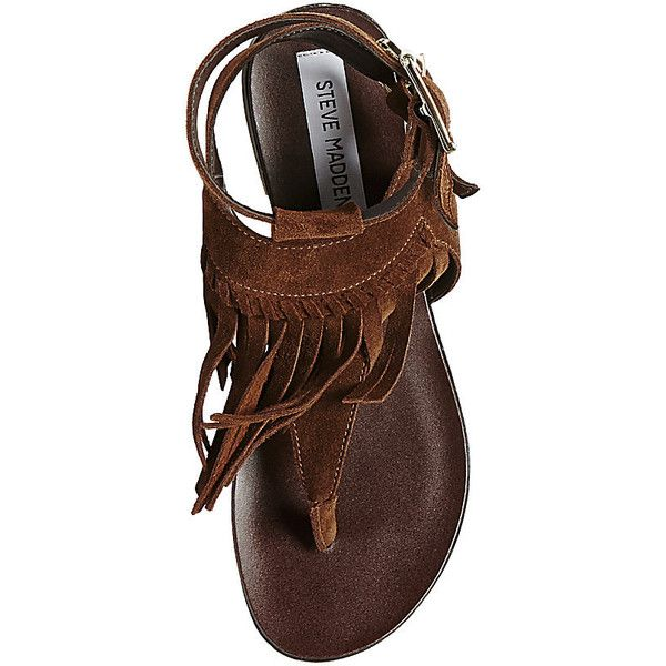 Steve Madden Women's Lexxee Sandals Flats (3.770 RUB) found on Polyvore featuring shoes, sandals, chestnut suede, flat thong sandals, flat shoes, t strap flats, flat sandals and thong sandals