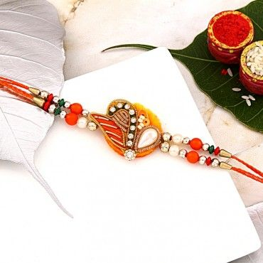 Designer Pearl and Bead Rakhi rakhi online shopping
