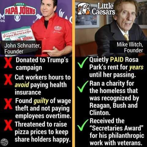I have boycotted Papa John's for about 4years......damn shame.....the owner is an asshole but the pizza is fabulous
