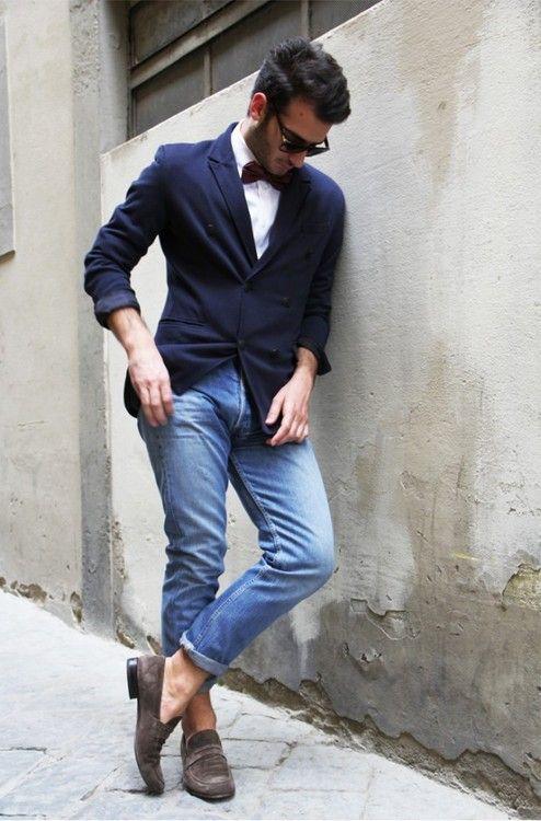 casual w/ bow tie #men // #fashion // #mensfashion