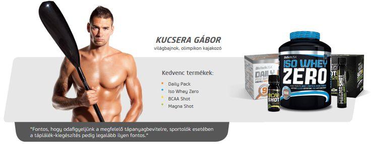Kucsera Gábor kajakozó is Biotech USA termékeket használ.