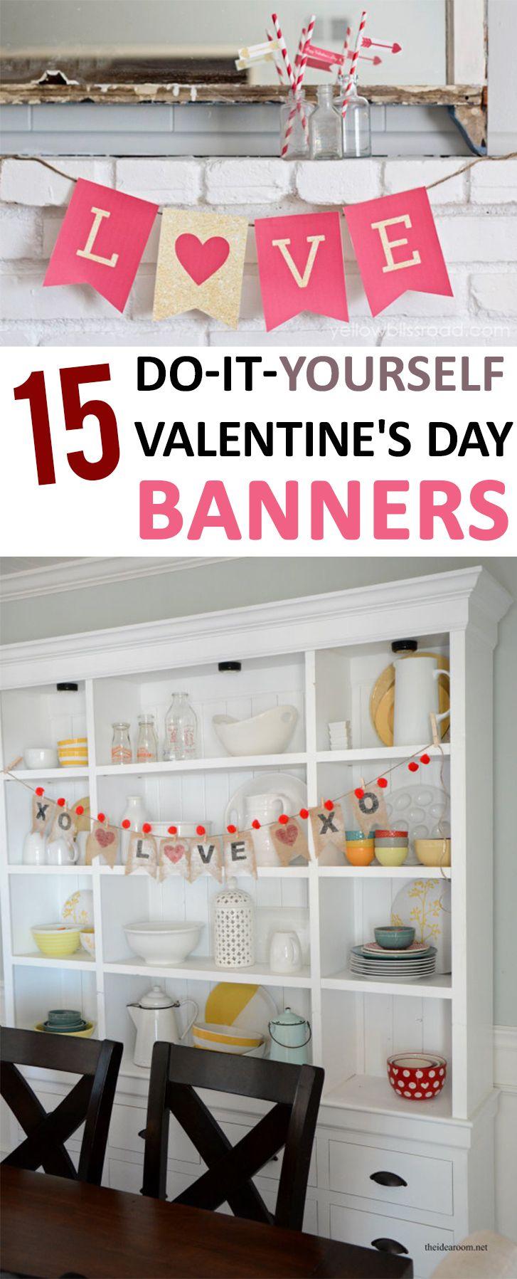Valentines Day, Homemade Valentines Day Decorations, Valentines Day DIY, Holiday Decor Ideas, Holiday Decor Help, Valentines Day Banners, Valentines Day Mantle, Popular