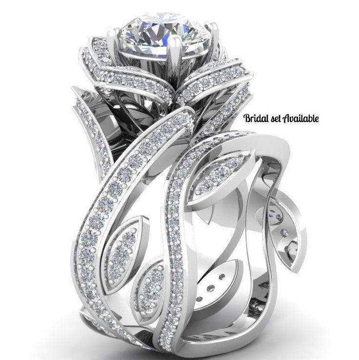 Stunning 3.01TCW Russian Lab Diamond Engagement Promise Wedding Floral Ring Size 6 FREE SHIPPING