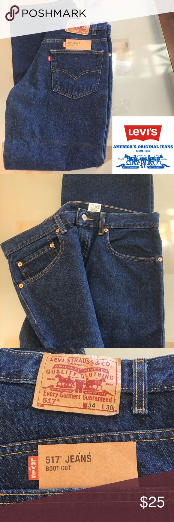 NWT Men's Levi's 517 Dark Wash Denim Jeans Regular Midrise 5 pocket boot cut jeans. Iconic Levi's Jeans that is loved by all from presidents movie stars farmers to everyday man. Sz 34x30 NWT Levi's Jeans Bootcut