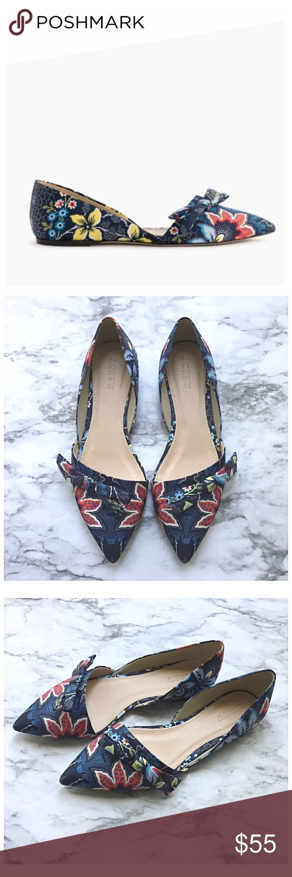 J.Crew Loan D'Orsay Flat J.Crew Sloan D'Orsay Flat in Batik Floral. An open d'orsay flat finished with a side bow and batik inspired print.  Cotton upper with leather sole. Runs true to size. Colors of the pattern are reflected in the 4 pics above.. cover photo is a little different. J. Crew Shoes Flats & Loafers