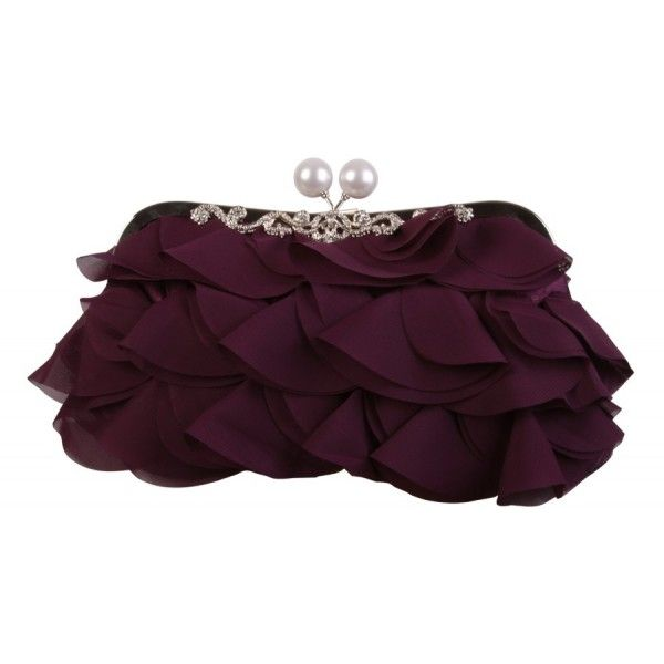 Purple Frilled Flower Soft #Clutch #Evening #Bag