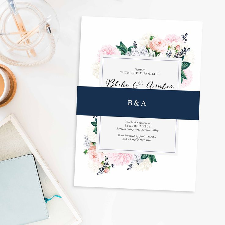 114 best Navy Blue Wedding Invitations images on Pinterest Navy
