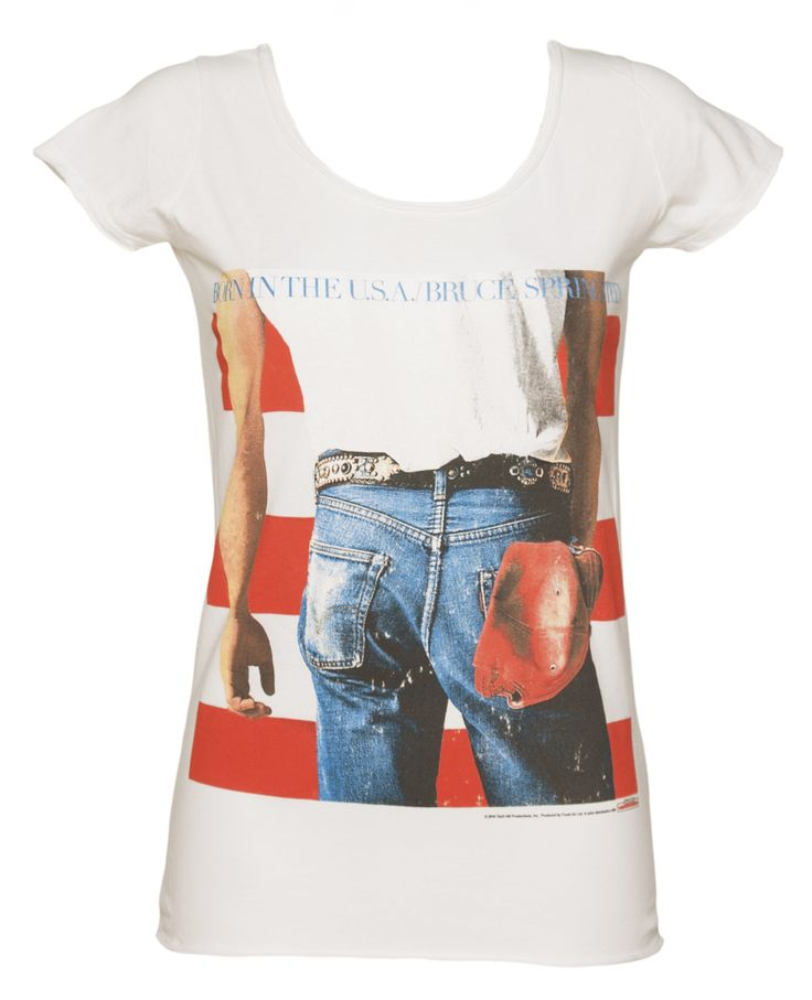 Ladies White Born In The USA Bruce Springsteen T-Shirt