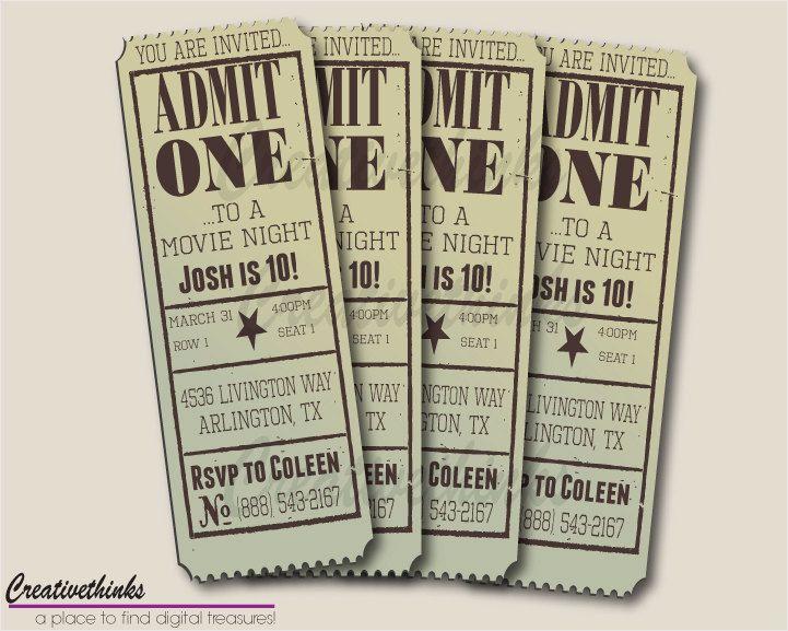 Printable Vintage Movie Ticket Invitation