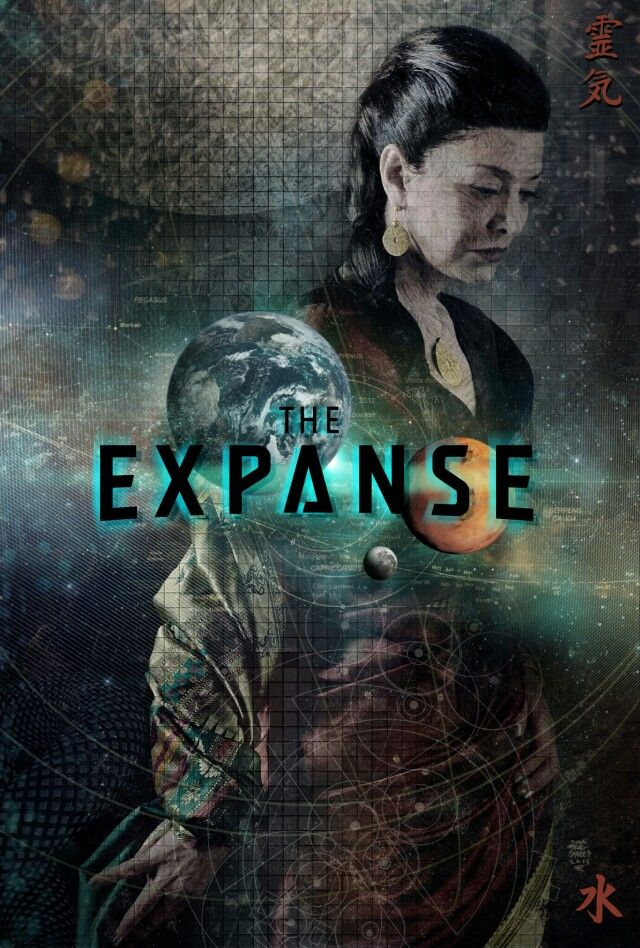 This poster is too busy for my tastes, I'd decrease the opacity of the symbols more  The Expanse syfy