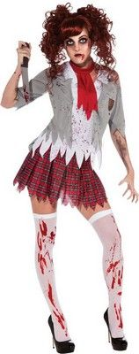 Ladies Adult Zombie School Girl Costume $31.68 http://www.halloweencostumes4u.com/prods/rub880937.html #zombie #zombieschoolgirl #zombiecostume #walkingdead #livingdead #halloweencostume #schoolgirl