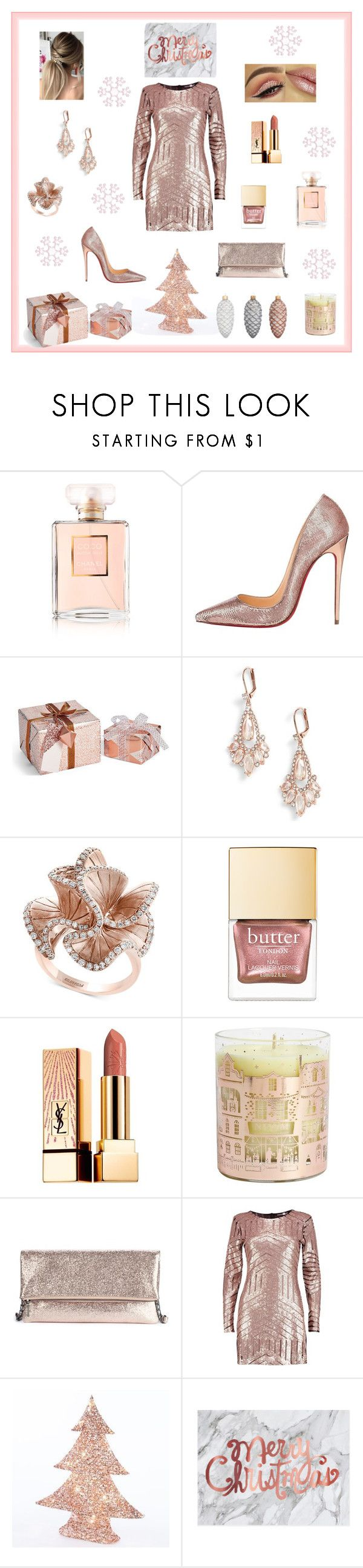 """Christmas Party Rose Gold"" by marnie1979 ❤ liked on Polyvore featuring Chanel, Christian Louboutin, Kate Spade, Effy Jewelry, Yves Saint Laurent, NEOM Organics, Sole Society, Boohoo and John Lewis"