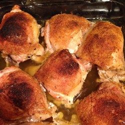 Easy Baked Chicken Thighs.  Season the chicken however you like and throw it in a 375 degree oven for 30 minutes. So easy! I used seasoned salt, garlic powder, and the onion flakes..