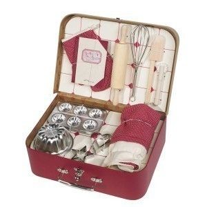 essential baking accessories in a gorgeous little red case