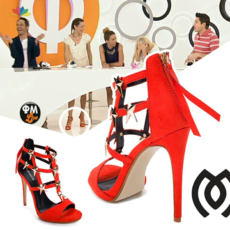"""Niovi Tsogia on """"Fotis-Maria Live"""" wearing MIGATO SS2014 collection red high-heeled sandals, product code EK2084."""