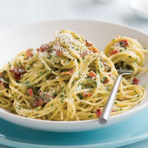 Spaghetti Carbonara - another one of my clean eating magazine recipe favorites!
