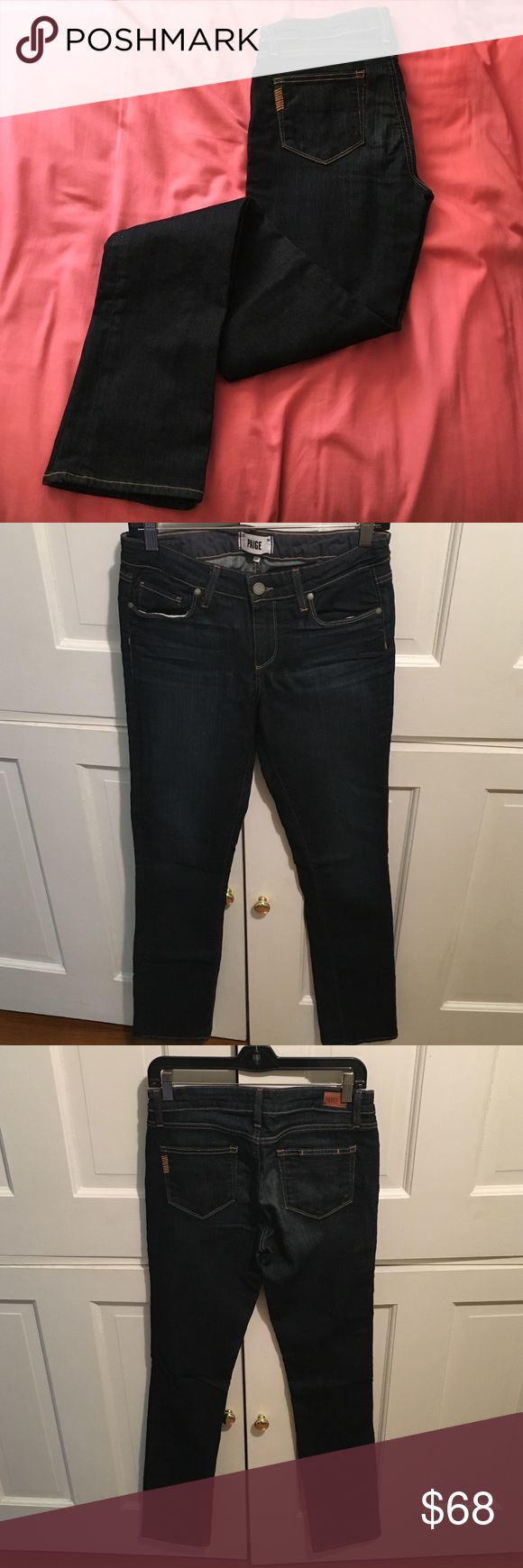"SALE 🎉 Paige women's jeans Paige ""skyline straight"" women's jeans. Inseam is 35"" so perfect for tall girls. Dark denim. Item has only been worn once and is in amazing condition. 80% cotton, 19% polyester, 1% elastane Paige Jeans Jeans Straight Leg"