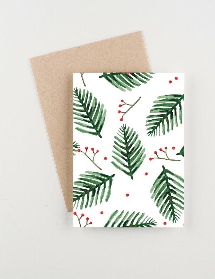 Weihnachtskarten selber basteln diy ideen abdruck