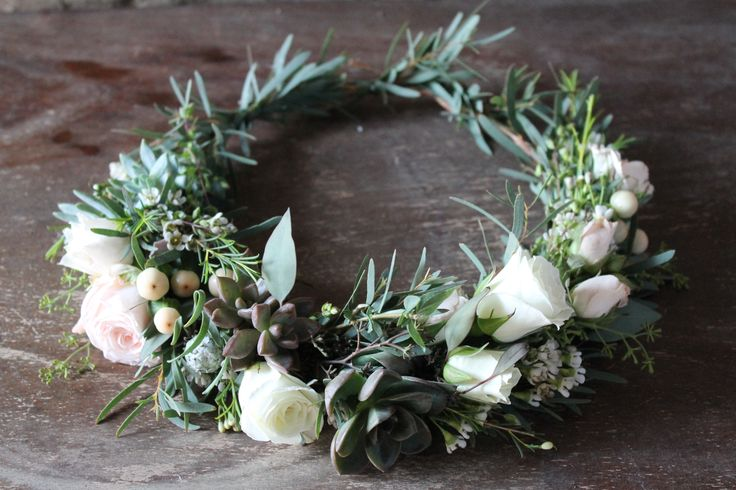 Succulent Flower Crown // Bridal Crown with feathered eucalyptus, spray roses and succulents  www.thecrowncollective.co