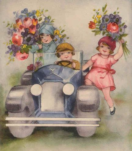 ArtbyJean - Vintage Clip Art: Four different beautiful prints of children with bunches of flowers
