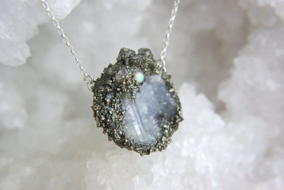 Crystal quartz point geode fairy cave necklace, sterling silver opal quartz herkimer diamond pyrite pendant