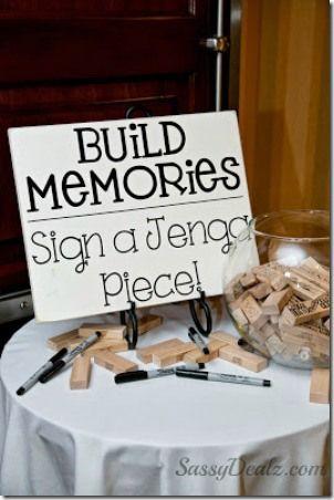 Jenga Wedding Guestbook from Crafty Morning