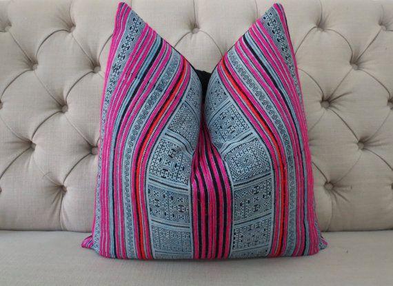 Hmong Handmade Fabric Cushion Cover Boho Batik by shopthailand
