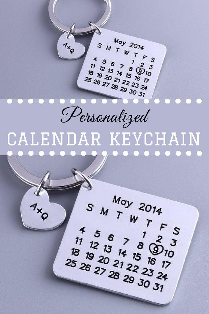 Personalized Calendar Keychain Anniversary Brithday-Valentine/'s Day gift Special Day Calendar Wedding Hand Stamped Calendar