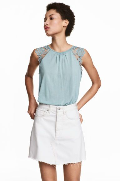 Tricot top met kant - Lichtturkoois - DAMES | H&M BE --- 9.99€