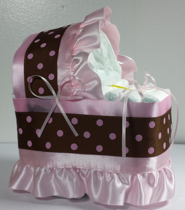 Pink Brown/Black Diaper Bassinet Baby Shower Gift Table Decoration Centerpiece by LittleHomeMades on Etsy   #4thOfJuly #FIREWORKS #July4th #American #Baby #BabyBump #CONGRATS