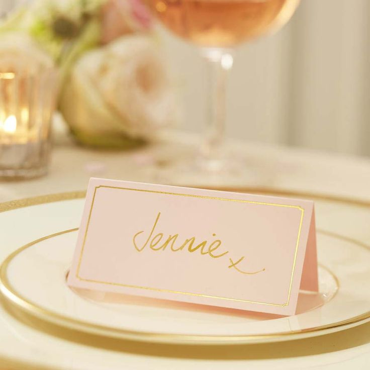 Pink and gold vintage name cards