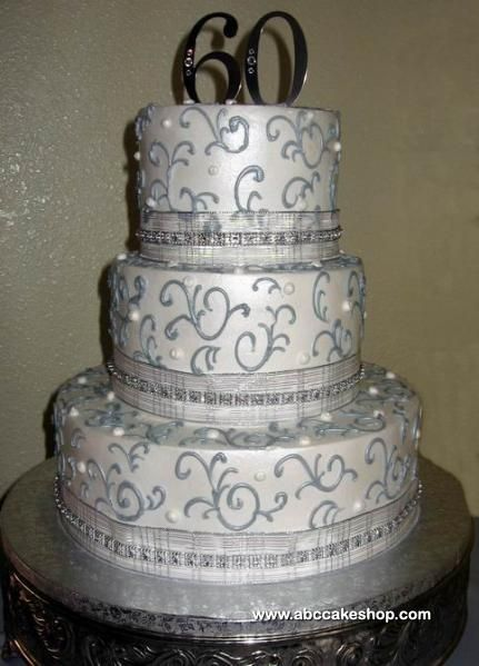 60th Wedding Anniversary Ideas | 60th silver anniversary item 1801 this three tiered anniversary cake ...