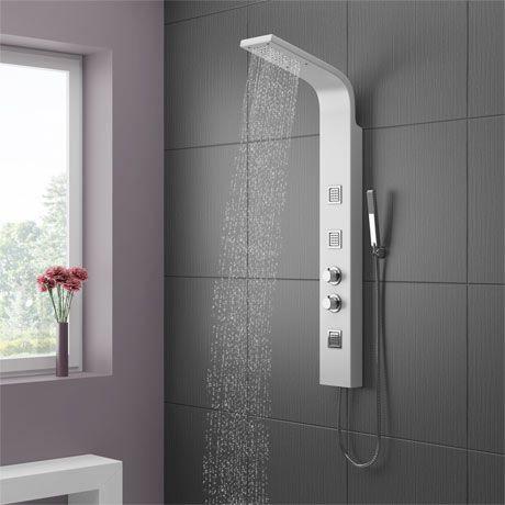 Maverick Tower Shower Panel (Thermostatic) - White | Shower panels