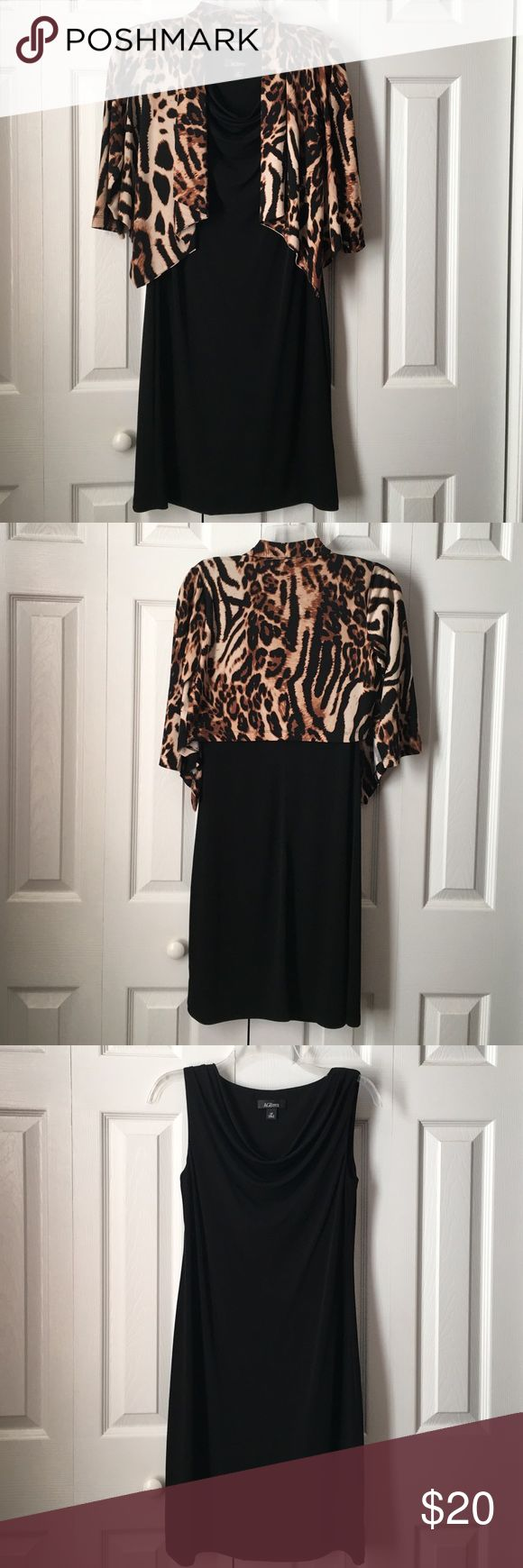 AGB Dress Petite 2 Piece Dress NWOT Brand new! Never worn! 2 piece dress. Black sleeveless A-line with drape neck and Animal Print jacket. Dress approximately 36 inches long. AGB Dress Petite Dresses
